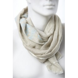 belbazaar 10256-5 blue beige print szalik