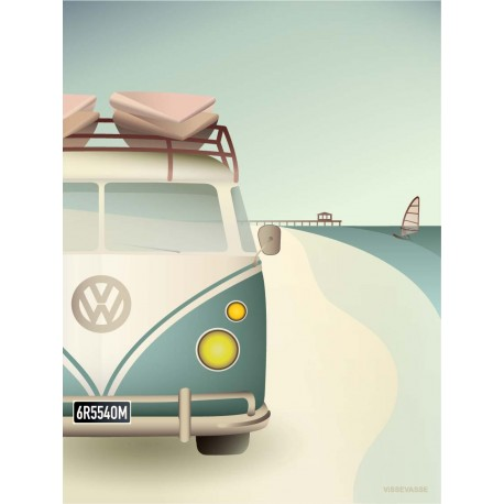 VW camper plakat VISSEVASSE