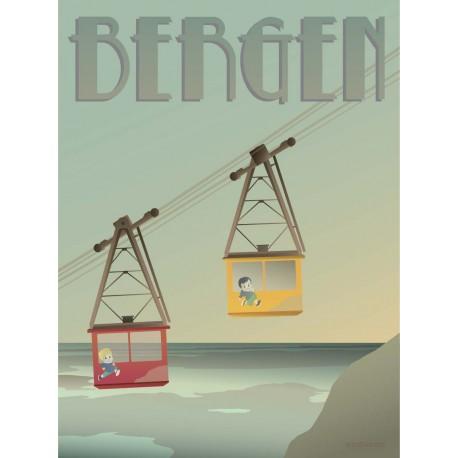 Bergen Ulriksbanen cable cars plakat VISSEVASSE