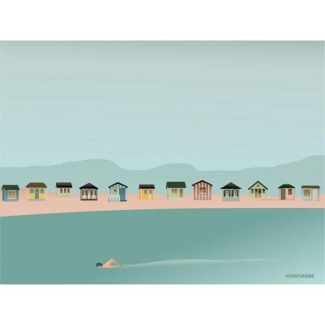 Beach hut coastline plakat VISSEVASSE